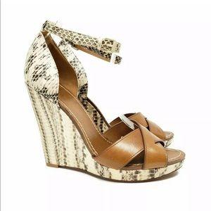 Tory Burch Livia Genuine Snakeskin Wedge Sandals